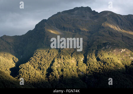 A streak of sun shining through heavy cloud onto a heavily treed mountain in Queenstown, New Zealand. - Stock Image