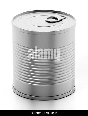 Tin can isolated on white background. 3D illustration. - Stock Image