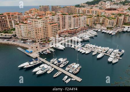Port Fontvielle harbor in Monaco, France, EU - Stock Image
