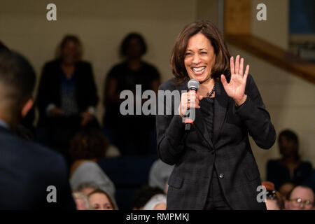 North Charleston, United States. 15th Feb, 2019. Senator Kamala Harris reacts to a question from the audience during a town hall event on the campaign for the Democratic nomination for president February 15, 2019 in North Charleston, South Carolina. South Carolina is the first southern democratic primary for the presidential race. Credit: Planetpix/Alamy Live News - Stock Image