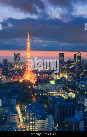 Japan, Tokyo, Tokyo Skyline and Tokyo Tower - Stock Image