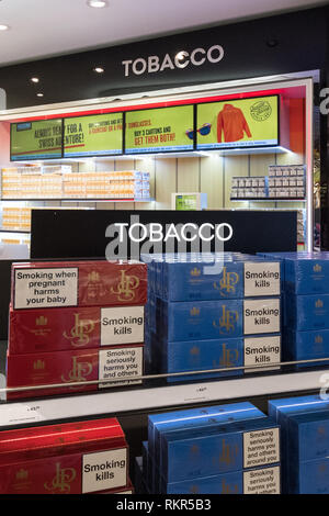 Duty free cigarettes on display at EuropAirport Basel Mulhouse Freiburg, Basel - Stock Image