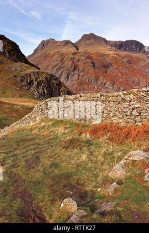 Drystone wall and Langdale Pikes from Lingmoor Fell, Langdale, Lake District, Cumbria, UK - Stock Image