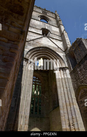 Fountains Abbey, North Yorkshire, Huby's Towera UNESCO World Heritage Site – well-preserved ruins of a Cistercian Monastery - Stock Image
