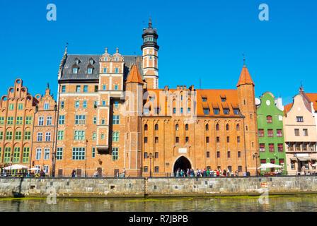 Brama Mariacka and Archeological museum, Dlugie Pobrzeze, Motlawa riverside, central Gdansk, Poland - Stock Image