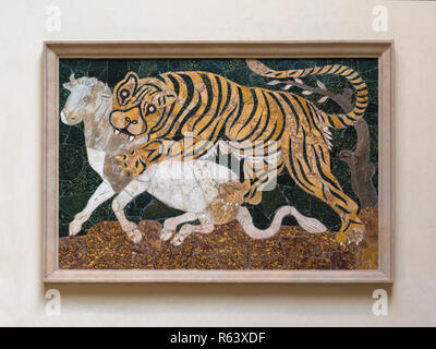 Panel in opus sectile with tiger assaulting a calf, Capitoline Museums, Rome, Italy - Stock Image