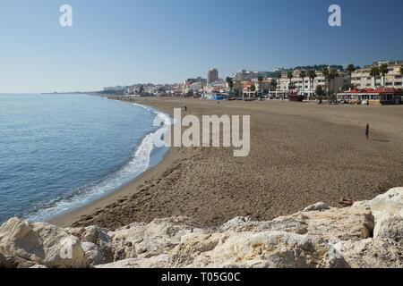 La Carihuela beach. Torremolinos, Málaga, Spain. - Stock Image