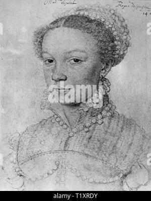 fine arts, Francois Clouet (1510 - 1572), drawing, Elisabeth of Valois, Queen consort of Spain, portrait, 1559, Musee Conde, Chantilly, Additional-Rights-Clearance-Info-Not-Available - Stock Image