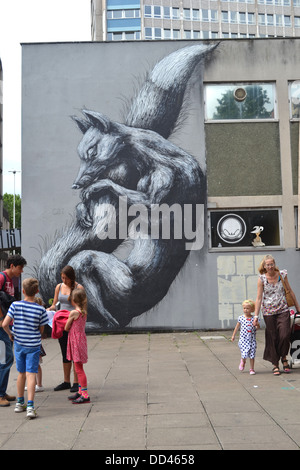 Fox street art by Belgian artist ROA on Nelson Street in Bristol, in the See No Evil Exhibition - Stock Image