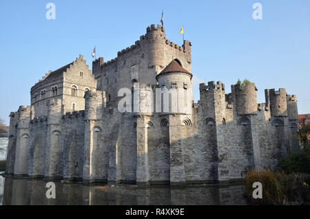 The medieval castle of Gravensteen in the heart of the Belgian city of Ghent - Stock Image