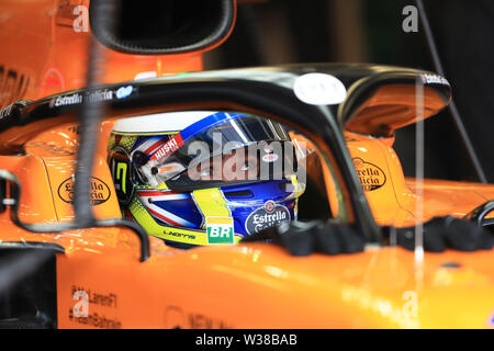 Silverstone Circuit. Northampton, UK. 13th July, 2019. FIA Formula 1 Grand Prix of Britain, Qualification Day; McLaren, Lando Norris Credit: Action Plus Sports/Alamy Live News - Stock Image