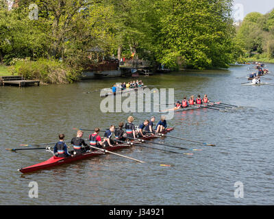 Rowing clubs celebrate the start of the rowing season, all kinds of boats  active, eight-man scull, rowing on river - Stock Image