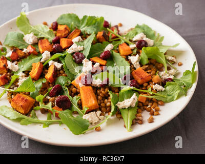 Plate with a lentil, winter squash salad with home made vegan feta - Stock Image