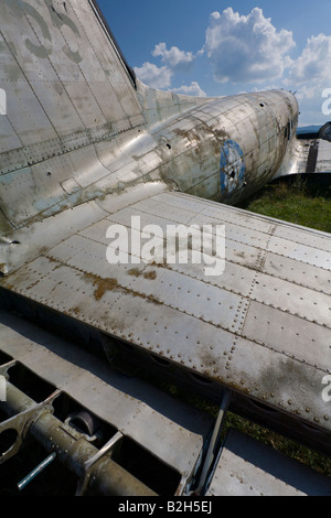 Derelict aircraft, C-47 Skytrain of ex JRV in Otocac, Croatia, aileron ribs - Stock Image