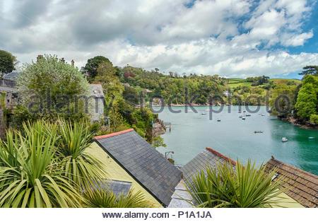 View from Warfleet Creek at Dartmouth Harbor at the River Dart, Devon, England, UK - Stock Image