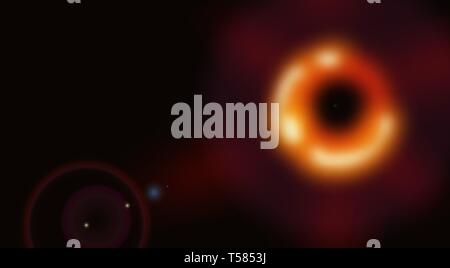 Black hole, total eclipse, abstract image. illustration - Stock Image