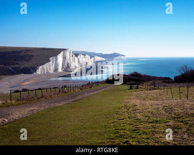 Seven Sisters chalk cliffs, South Downs Way, South Downs National Park, East Sussex, England, UK, GB - Stock Image