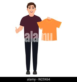 The guy holds an orange T-shirt and shows a thumbs up, a man likes clothes, cartoon character vector illustration - Stock Image