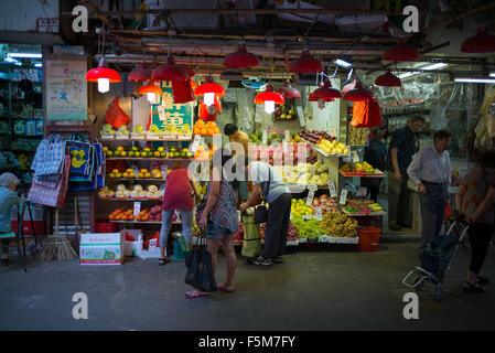 Fruit stall at the market in North Point - Stock Image