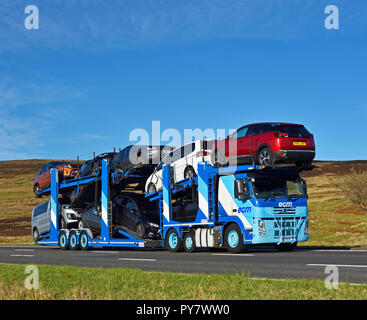 ECM (Vehicle Delivery Service) Limited Car Transporter. M6 Motorway Southbound carriageway, Shap, Cumbria, England, United Kingdom, Europe. - Stock Image