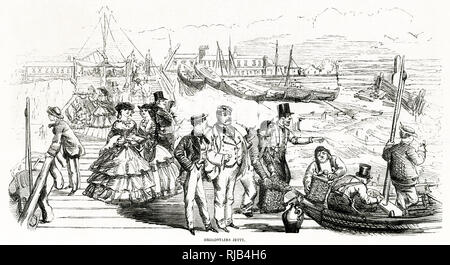 Victorains walking alone the jetty, on a summers day. - Stock Image