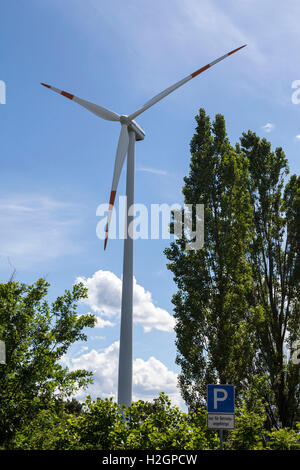 A wind power electrical generator in Poland. - Stock Image