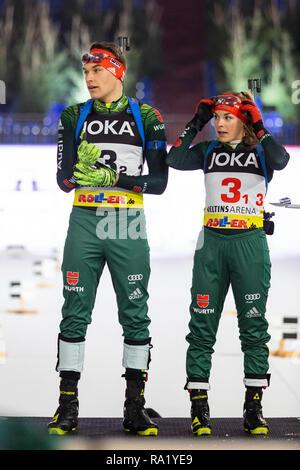 Marvin Schumacher, Hanna Kebinger. The German Team Challenge takes place during the JOKA Biathlon WTC auf Schalke featuring young German biathlethes. - Stock Image