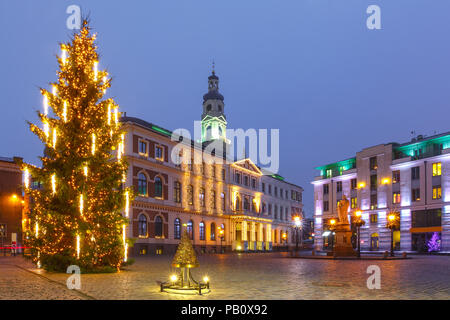 City Hall Square in the Old Town of Riga, Latvia - Stock Image