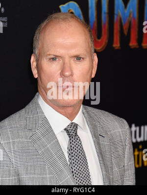 MICHAEL KEATON American film actor at the premiere of Disney's 'Dumbo' at El Capitan Theatre on March 11, 2019 in Los Angeles, California. - Stock Image