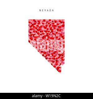 I Love Nevada. Red Hearts Pattern Vector Map of Nevada - Stock Image