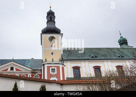 Monastery and Church of Saint Adalbert in Broumov town in Nachod District of Czech Republic - Stock Image