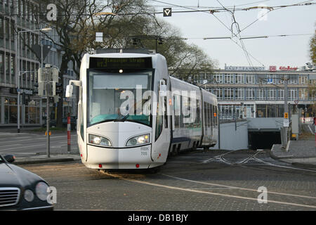 A so-called RegioTrams pictured in Kassel, Germany, 21 November 2007. The RegioTram is a mixture of a common tram - Stock Image
