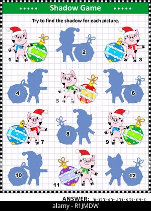 Winter holidays themed visual puzzle or picture riddle with cute little pigs and beautiful baubles: Can you find the shadow for each picture? - Stock Image