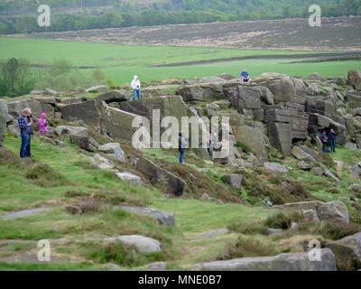 Curbar Edge, Peak District National Park, UK. 16th May 2018. Disappointed onlookers at Curbar Edge waiting for the RAF BBMF Dambusters Lancaster bomber which didn't fly to mark the 75th anniversary of 617 Squadron's Operation Chastise raid on German dams. 16th May 2018 Peak District National Park, Derbyshire, UK. Credit: Doug Blane/Alamy Live News - Stock Image