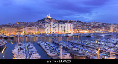 Old Port and Notre Dame, Marseille, France - Stock Image