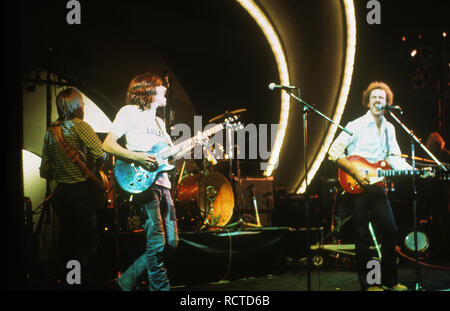 THE EAGLES US rock group about 1973 with Joe Walsh at left and Bernie Leadon - Stock Image