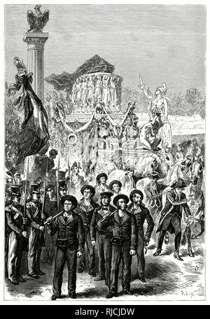 Return of the remains of Napoleon I to Paris. - Stock Image