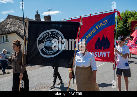 Tolpuddle, UK. 22nd July 2018. Tolpuddle MartyrsÕ Festival. Jeremy Corbyn took part in the procession through Tolpuddle. Organised by the TUC. Credit: Stephen Bell/Alamy Live News. - Stock Image