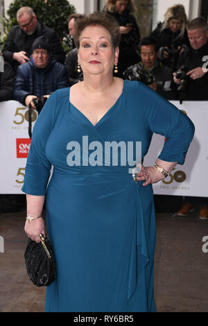 LONDON, UK. March 12, 2019: Anne Hegerty arriving for the TRIC Awards 2019 at the Grosvenor House Hotel, London. Picture: Steve Vas/Featureflash Credit: Paul Smith/Alamy Live News - Stock Image