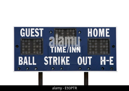 A score board used for little league baseball games isolated over white - Stock Image