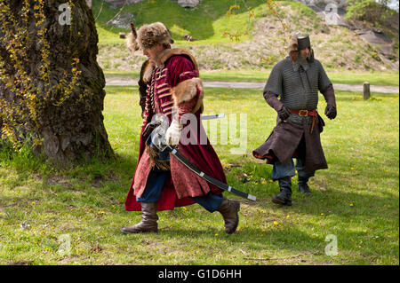 May day picnic show in Janowiec Castle event of Swedes assault on the castle, historical battle reenactment at Majowka - Stock Image