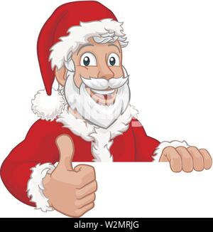 Young Santa Sign Thumbs Up Christmas Cartoon - Stock Image