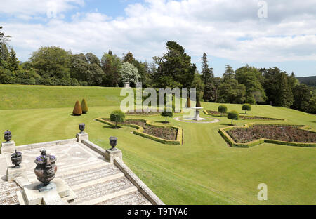 A general view of Powerscourt House and Gardens in Enniskerry, Co Wicklow, on the first day of their visit to Ireland. - Stock Image