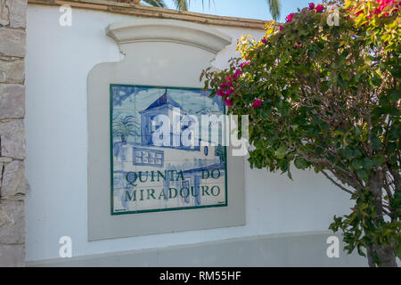 Entrance To Quinta Do Miradouro The Winery That Is Home To Sir Cliff Richard's Adega do Cantor Winery Portugal - Stock Image