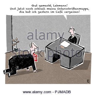 employee must retrieve briefcase - Stock Image
