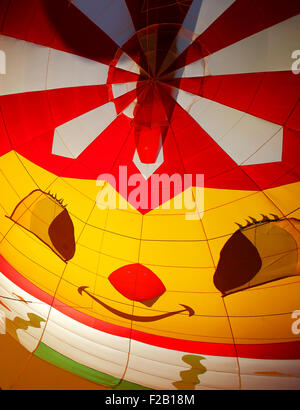 A smiling face inside a hot air balloon at the 30th annual Atlantic International Balloon Fiesta in Sussex, NB, - Stock Image