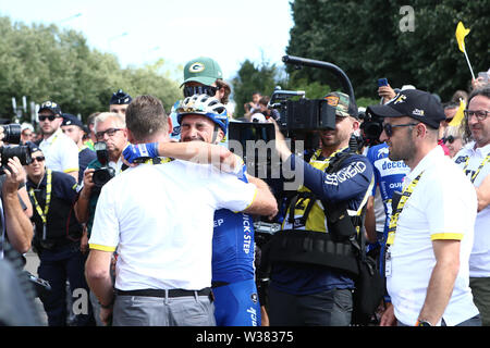 Macon to Saint-Etienne, France. 13th July 2019. Macon to Saint-Etienne, France. Macon to Saint-Etienne, France. 13th July 2019, Macon to Saint-Etienne, France; Tour de France cycling tour, stage 8; Julian Alaphilippe, Deceuninck - Quick - Step and Franck Alaphilippe Credit: Action Plus Sports Images/Alamy Live News Credit: Action Plus Sports Images/Alamy Live News Credit: Action Plus Sports Images/Alamy Live News - Stock Image