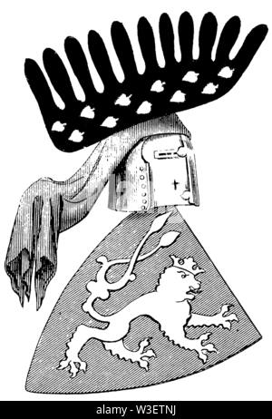 Coat of arms of the 14th century, ,  (cultural history book, 1875) - Stock Image