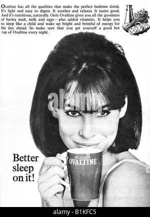 1965 Magazine Advertisement for Ovaltine Hot Drink FOR EDITORIAL USE ONLY - Stock Image
