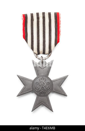 World War Two Belgium Cross Medal Isolated on White Background. - Stock Image
